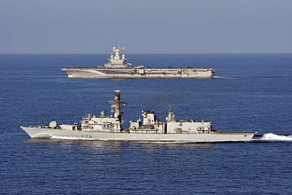 Lancaster House Treaties - HMS Kent (foreground) collaborating with the French carrier Charles de Gaulle off Djibouti