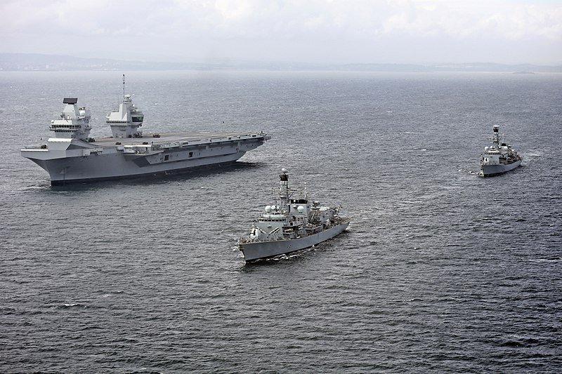 HMS Queen Elizabeth (R08) underway during trials with HMS Sutherland (F81) and HMS Iron Duke (F234) on 28 June 2017 (45162784).jpg