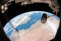 HTV-5 grappled by the International Space Station's robotic arm Canadarm2.jpg