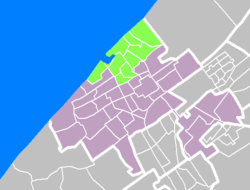 Map of The Hague, Scheveningen marked green