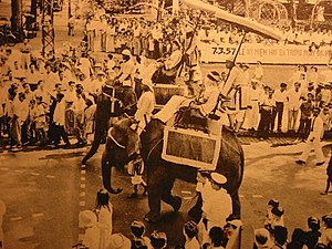 Trưng Sisters - Procession of elephants in the Trưng Sisters' Parade in Saigon, 1957