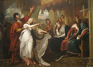 Ophelia - Hamlet, Act IV, Scene V (Ophelia Before the King and Queen), Benjamin West, 1792