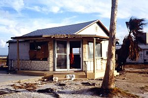 Corpus Christi, Texas - Damaged restaurant after Hurricane Allen