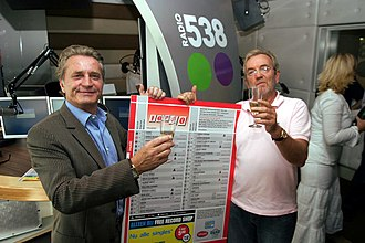 Dutch Top 40 - Hans Breukhoven and Lex Harding celebrating a printed edition of the Dutch Top 40 in 2005