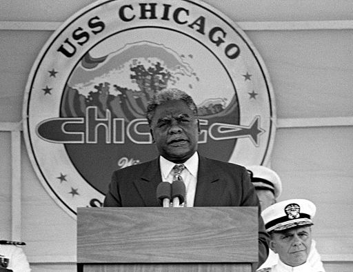 Harold Washington at the commissioning of USS Chicago (SSN-721) cropped