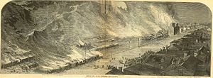 Thomas A. Scott - Burning of Pennsylvania Railroad and Union Depot, in the 1877 Pittsburgh railroad strike.