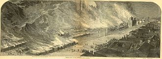 Great Railroad Strike of 1877 - Burning of Pennsylvania Railroad and Union Depot, Pittsburgh, Pennsylvania, 21–22 July 1877, engraving from Harper's Weekly