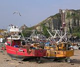 Hastings fishing boats on beach + cliff railway + old town.jpg