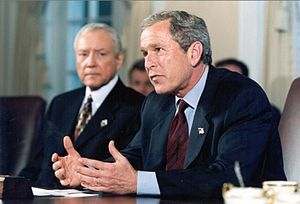 Orrin Hatch - Sen. Hatch visits at the White House with Pres. Bush following the September 11 attacks.
