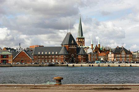 """Aarhus seen from """"Dokken"""" over the habour"""