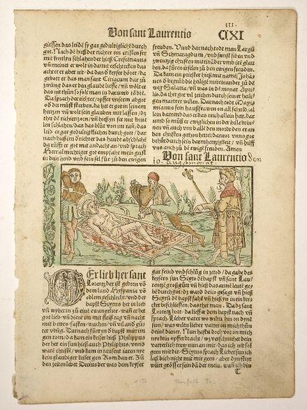 Page d'un incunable illustrée d'une gravure sur bois représentant le martyre de saint Laurent, Légende dorée en allemand, 1489