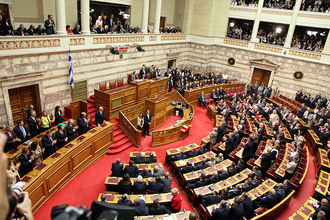 Old Royal Palace - Image: Hellenic Parliament M Ps swearing in