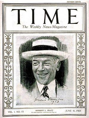 Herbert L. Pratt - Pratt on the cover of Time magazine