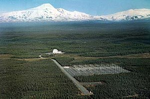 Aerial view of the HAARP site, looking towards Mount Sanford، آلاسکا