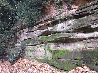 Highfields Park, Nottingham - Natural sandstone outcrop