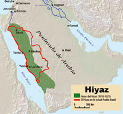 Map with the Saudi region outlined in red and the 1923 Kingdom in green