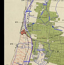 Historical map series for the area of Achziv (1940s with modern overlay).jpg