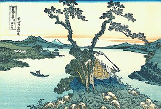 Takeminakata - Lake Suwa in Shinano Province by Katsushika Hokusai