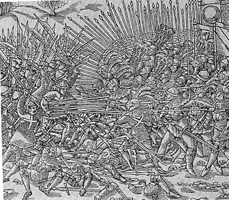 Battle of Sempach - The battle in a woodcut by Niklaus Manuel (d. 1530)