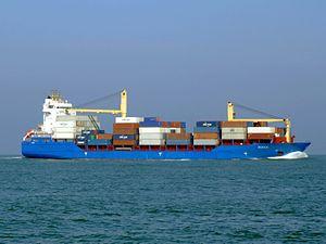 Hooge pic3 approaching Port of Rotterdan, Holland.JPG