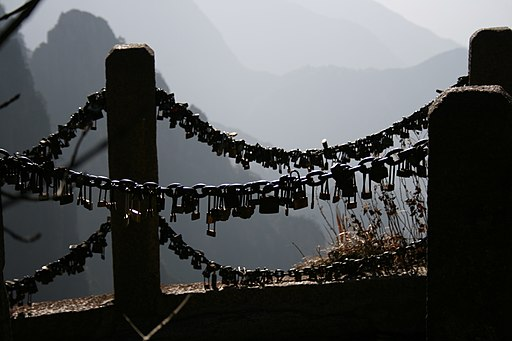 Huangshan love locks railing