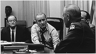 1968 United States presidential election - Vice President Hubert Humphrey, President Lyndon Johnson, and General Creighton Abrams in a Cabinet Room meeting in March 1968