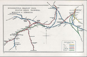 Calder Valley line - Railway lines around Huddersfield in 1911