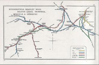 Bradley railway station - Lines around Bradley in 1911