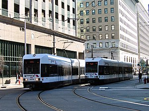 Hudson–Bergen Light Rail - Passing trains near Exchange Place.
