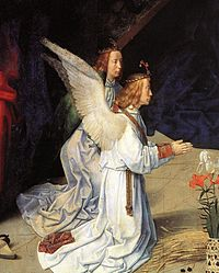 Hugo van der goes portinari triptych central angels below left.jpg