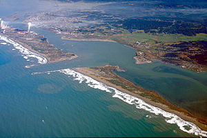California Bays and Estuaries Policy - Although only a portion of Humboldt Bay is visible in this aerial image, the small opening to the Pacific Ocean illustrates the limited mixing opportunities for dilution of wastes entering the bay in runoff.