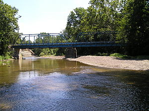 Huron River (Ohio) - Blue Bridge carries Lamereaux Road across the river in Ridgefield Township; it was built after the July 5, 1969 flood washed the other bridge away (the river was near thirty feet in depth)