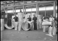Hutt Railway Workshops at Woburn. Interior view with new heating apparatus, 1929. ATLIB 290042.png