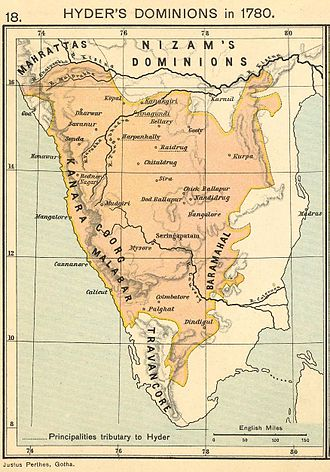Hyder Ali - The dominions of the Sultanat-e-Khudad of Mysore ruled by Hyder Ali, in the year 1780.