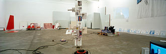 I am a Curator - Installation view from I am a Curator Chisenhale Gallery, 12.11.2003, Embassy of Work with Me/Åbäke