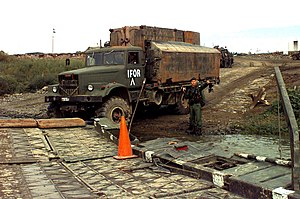 Main supply route - A Hungarian Army truck on an MSR crossing the Sava river at Slavonski Brod, Croatia.