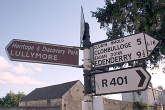 Road signs in Ireland - Typical road signs in rural areas of the Republic of Ireland. Here, a Fingerpost with old road number and Bord Fáilte logo.