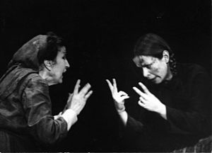 Katina Paxinou - Paxinou (left) in Brecht's Mother Courage and Her Children, Pantheon Theatre, Athens, 1971/72 (PFF's Archive).