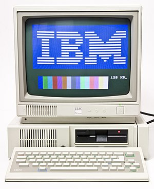 "IBM PCjr - IBM PCJr with original ""chiclet"" keyboard, PCjr color display, and 64 KB memory expansion card"
