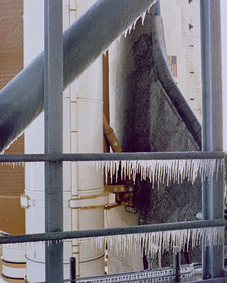 Space Shuttle Challenger disaster - Ice on the launch tower hours before Challenger launch