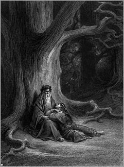 Merlin and Viviane in Gustave Dore's 1868 illustration for Alfred, Lord Tennyson's Idylls of the King Idylls of the King 10.jpg