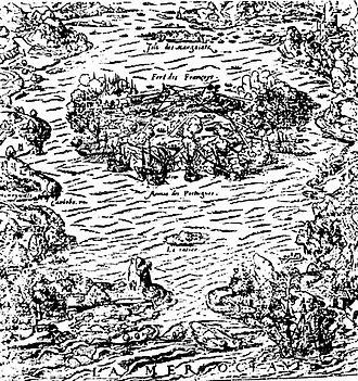 Nicolas Durand de Villegaignon - Drawing of the Island of Villegaignon, in Rio de Janeiro