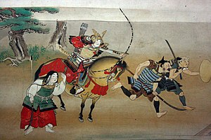 Ō-yoroi - Samurai on horseback wearing an ō-yoroi-the large skirt-like kusazuri shows that this is an ō-yoroi.