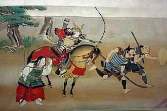 Ō-yoroi - Samurai on horseback wearing an ō-yoroi-the large skirt-like kusazuri shows that this is an ō-yoroi.