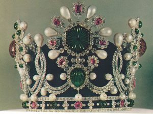 Baroque pearl - The coronation crown worn by empress Farah of Iran on the coronation in 1967 studded with multiple baroque pearls.
