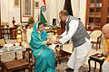 Indian President Pratibha Patil receives Bhagavad Gita.jpg