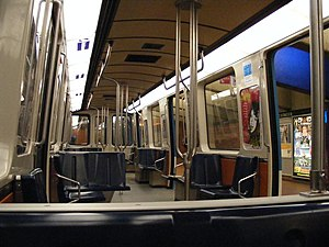 Orange Line (Montreal Metro) - The interior of a MR-73 train.