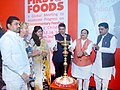 "J.P. Nadda lighting the lamp to inaugurate the ""Global meeting to Accelerate Progress on Complementary Feeding for Young Children"", in Mumbai. The Chief Minister of Maharashtra.jpg"
