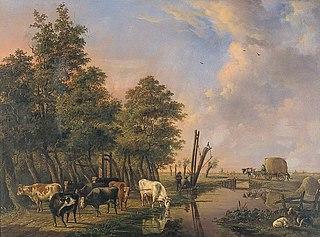 Koeien aan een landweg in de buurt van Rotterdam
