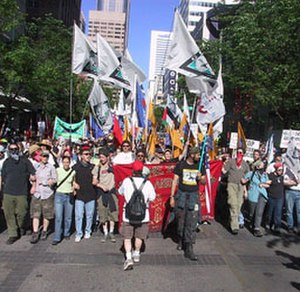 "J26 G8 Protests - The ""snake march,"" on the morning of June 26, 2002, in Calgary."